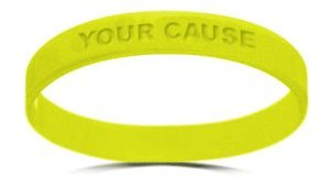 Customize these silicone bracelets with your colors, logo, phrase and cause